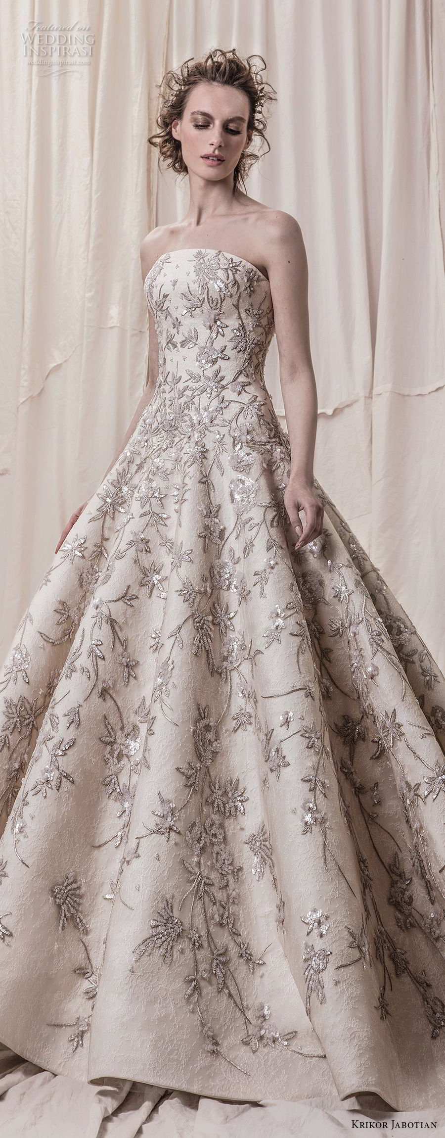 krikor jabotian spring 2018 bridal strapless straight across neckline full embellishment champagne color princess ball gown a  line wedding dress royal train (07) lv