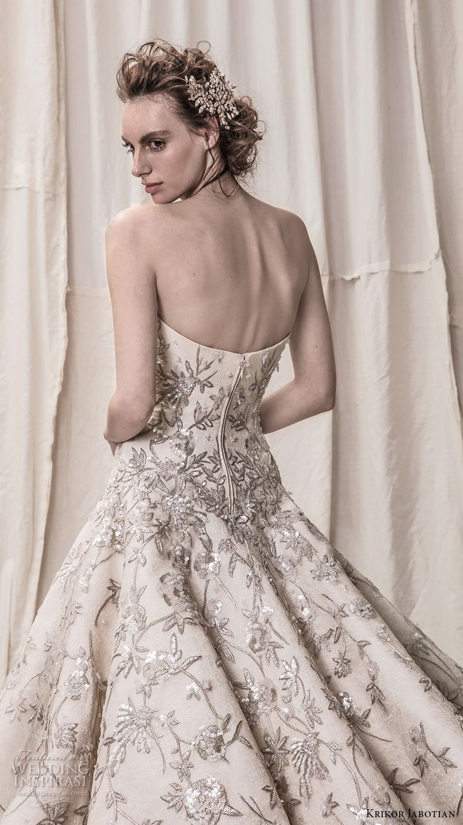 krikor jabotian spring 2018 bridal strapless straight across neckline full embellishment champagne color princess ball gown a line wedding dress royal train (07) zbv