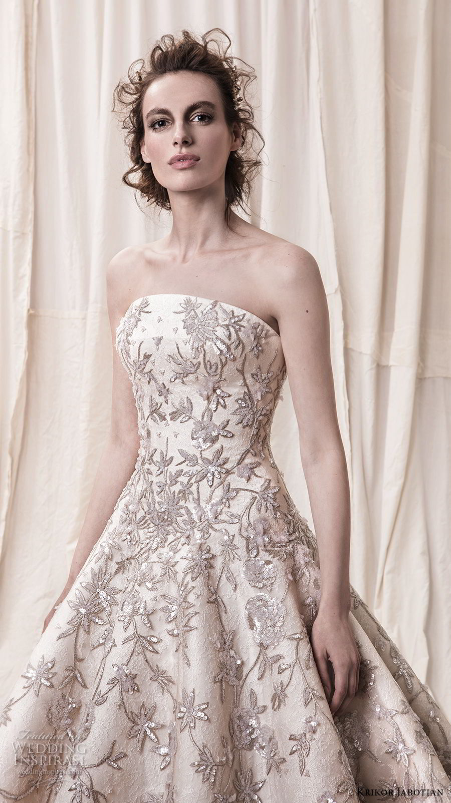 krikor jabotian spring 2018 bridal strapless straight across neckline full embellishment champagne color princess ball gown a line wedding dress royal train (07) zv