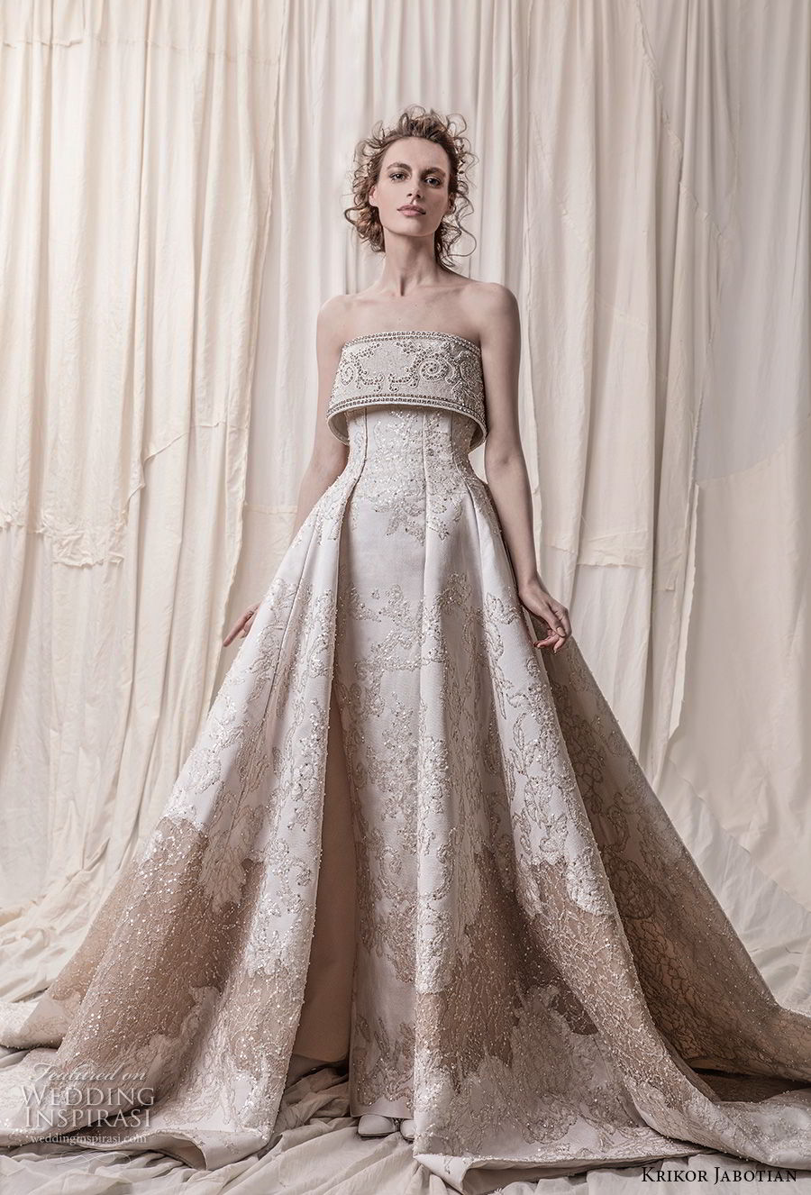 krikor jabotian spring 2018 bridal strapless straight across neckline full embellishment princess glamorous a  line wedding dress royal train (09) mv