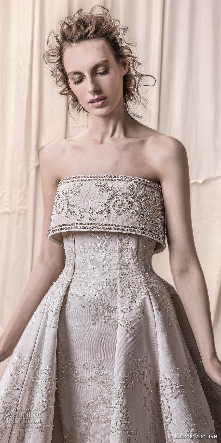 krikor jabotian spring 2018 bridal strapless straight across neckline full embellishment princess glamorous a line wedding dress royal train (09) zv