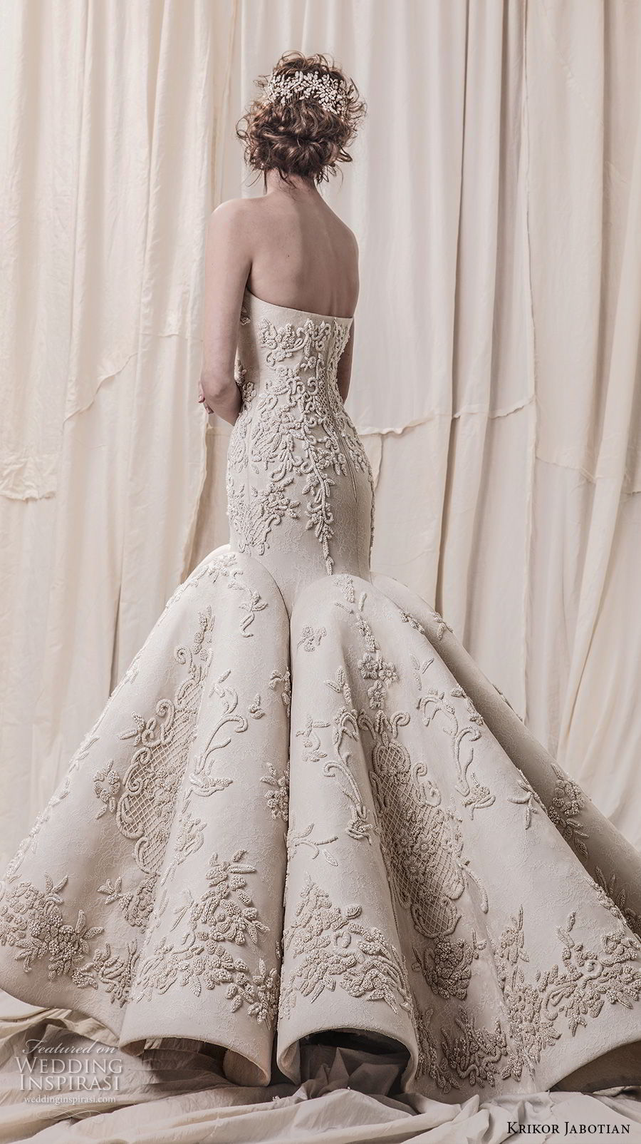 krikor jabotian spring 2018 bridal strapless sweetheart neckline full embellishment elegant glamorous mermaid wedding dress chapel train (02) bv