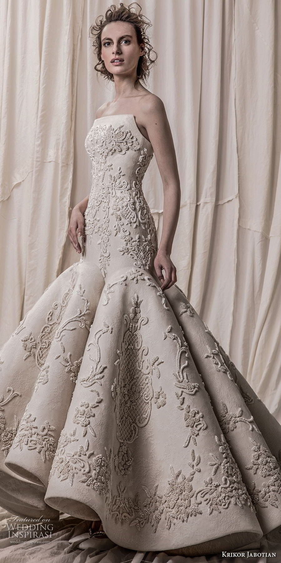 krikor jabotian spring 2018 bridal strapless sweetheart neckline full embellishment elegant glamorous mermaid wedding dress chapel train (02) mv