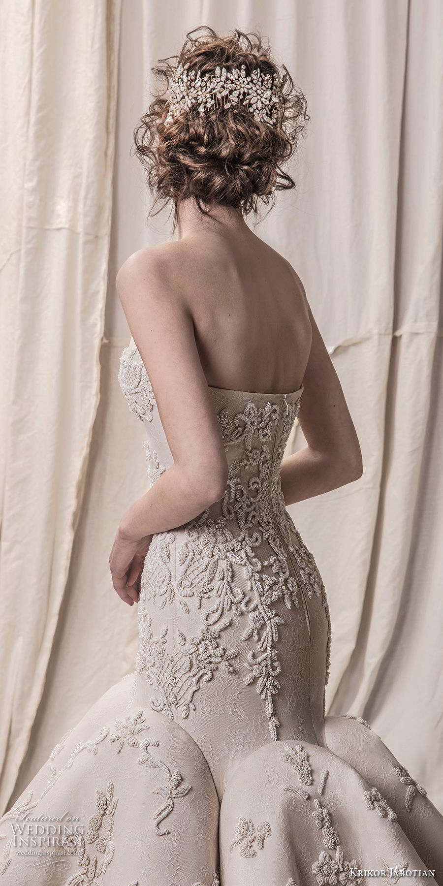 krikor jabotian spring 2018 bridal strapless sweetheart neckline full embellishment elegant glamorous mermaid wedding dress chapel train (02) zbv