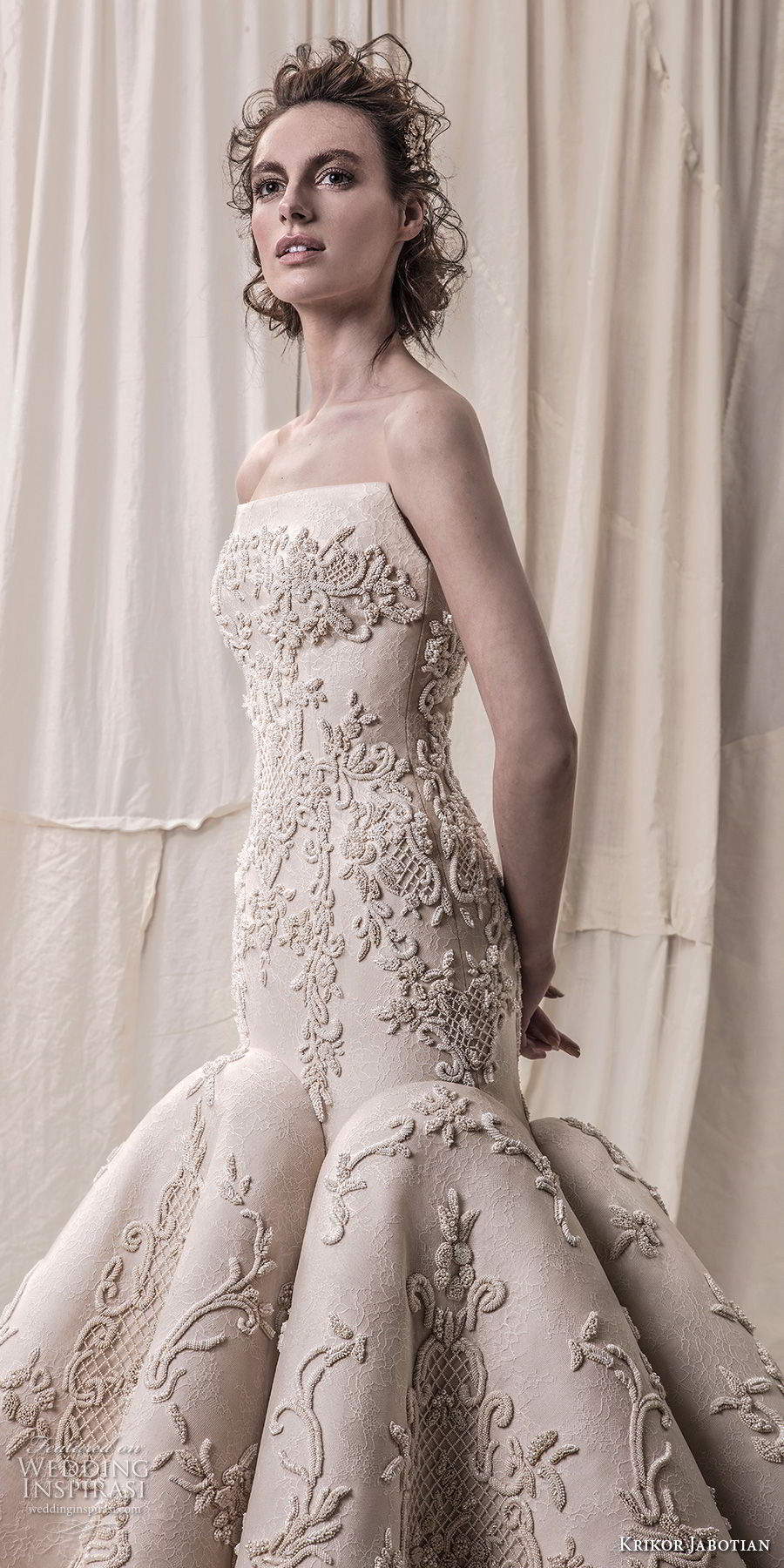 krikor jabotian spring 2018 bridal strapless sweetheart neckline full embellishment elegant glamorous mermaid wedding dress chapel train (02) zv