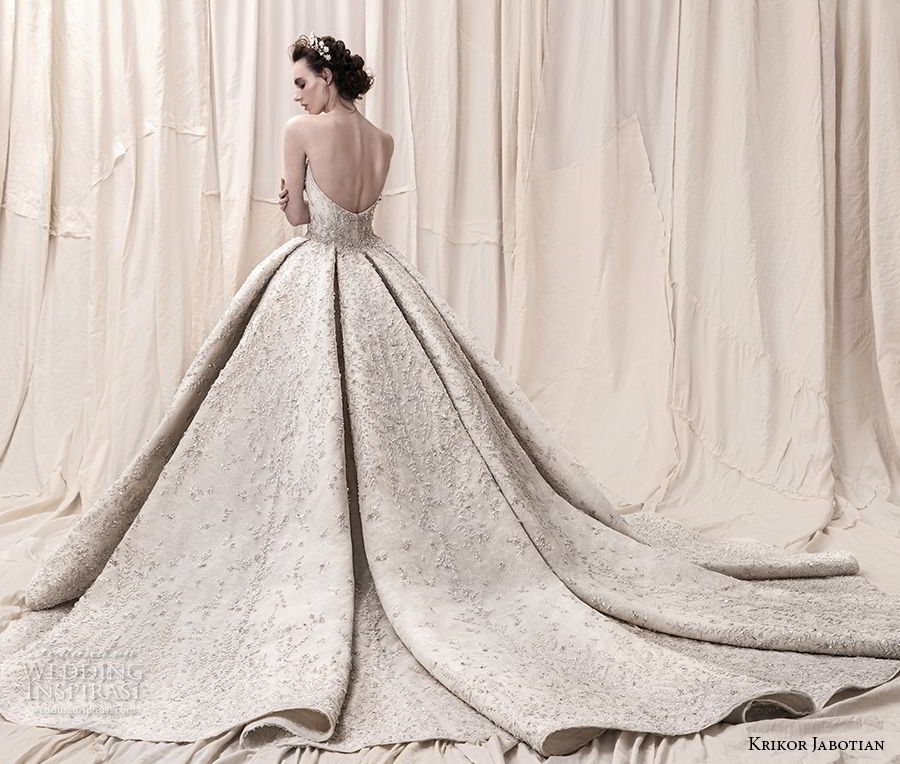 krikor jabotian spring 2018 bridal straplss semi sweetheart neckline full embellishment glamorous princess ball gown a  line wedding dress open back royal train (05) bv