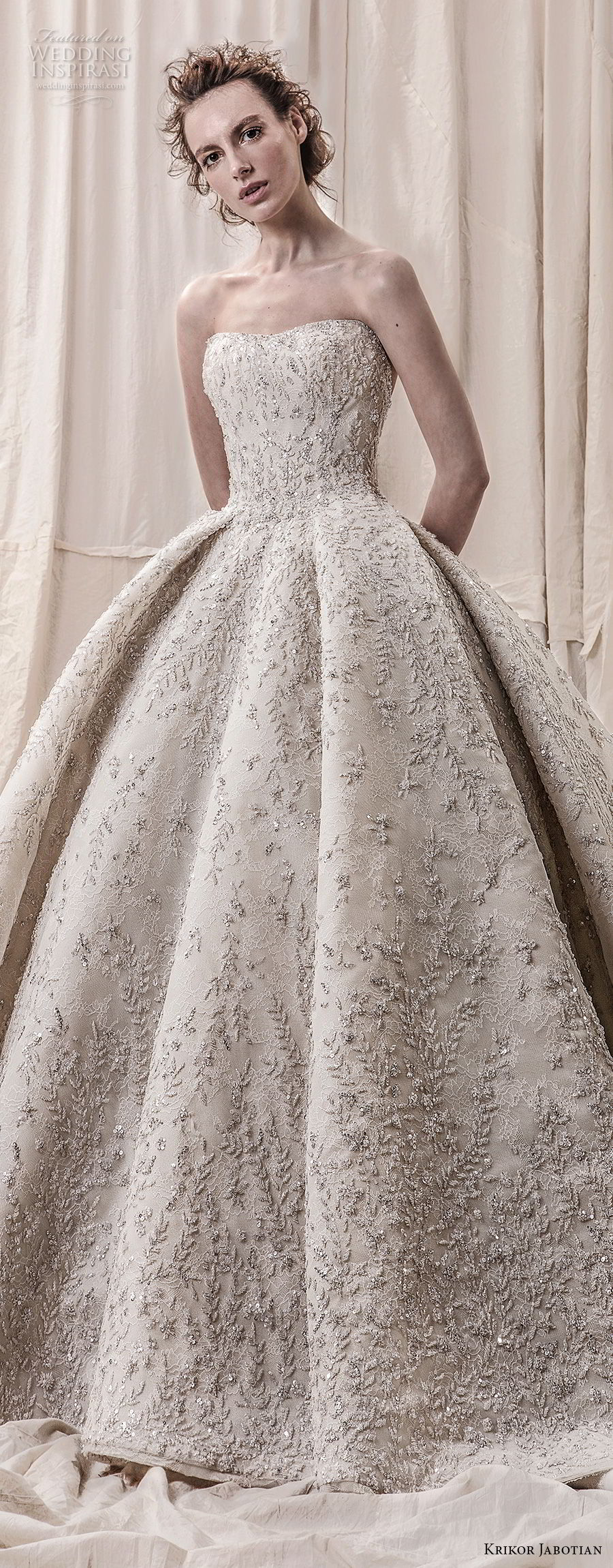 krikor jabotian spring 2018 bridal straplss semi sweetheart neckline full embellishment glamorous princess ball gown a  line wedding dress open back royal train (05) lv