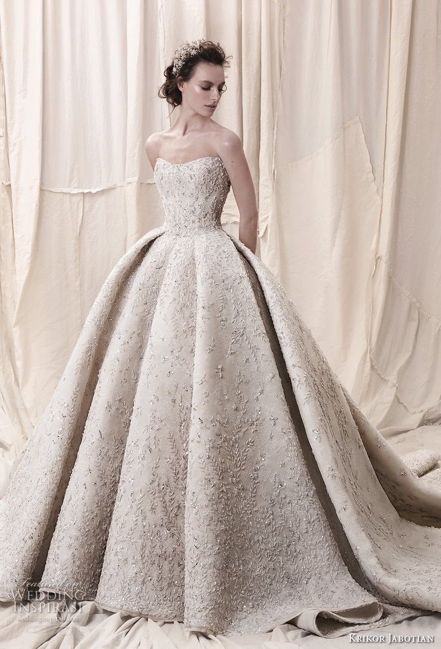 krikor jabotian spring 2018 bridal straplss semi sweetheart neckline full embellishment glamorous princess ball gown a  line wedding dress open back royal train (05) mv