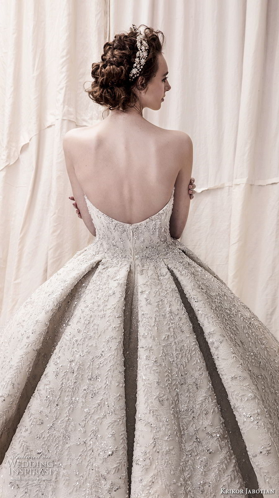 krikor jabotian spring 2018 bridal straplss semi sweetheart neckline full embellishment glamorous princess ball gown a line wedding dress open back royal train (05) zbv