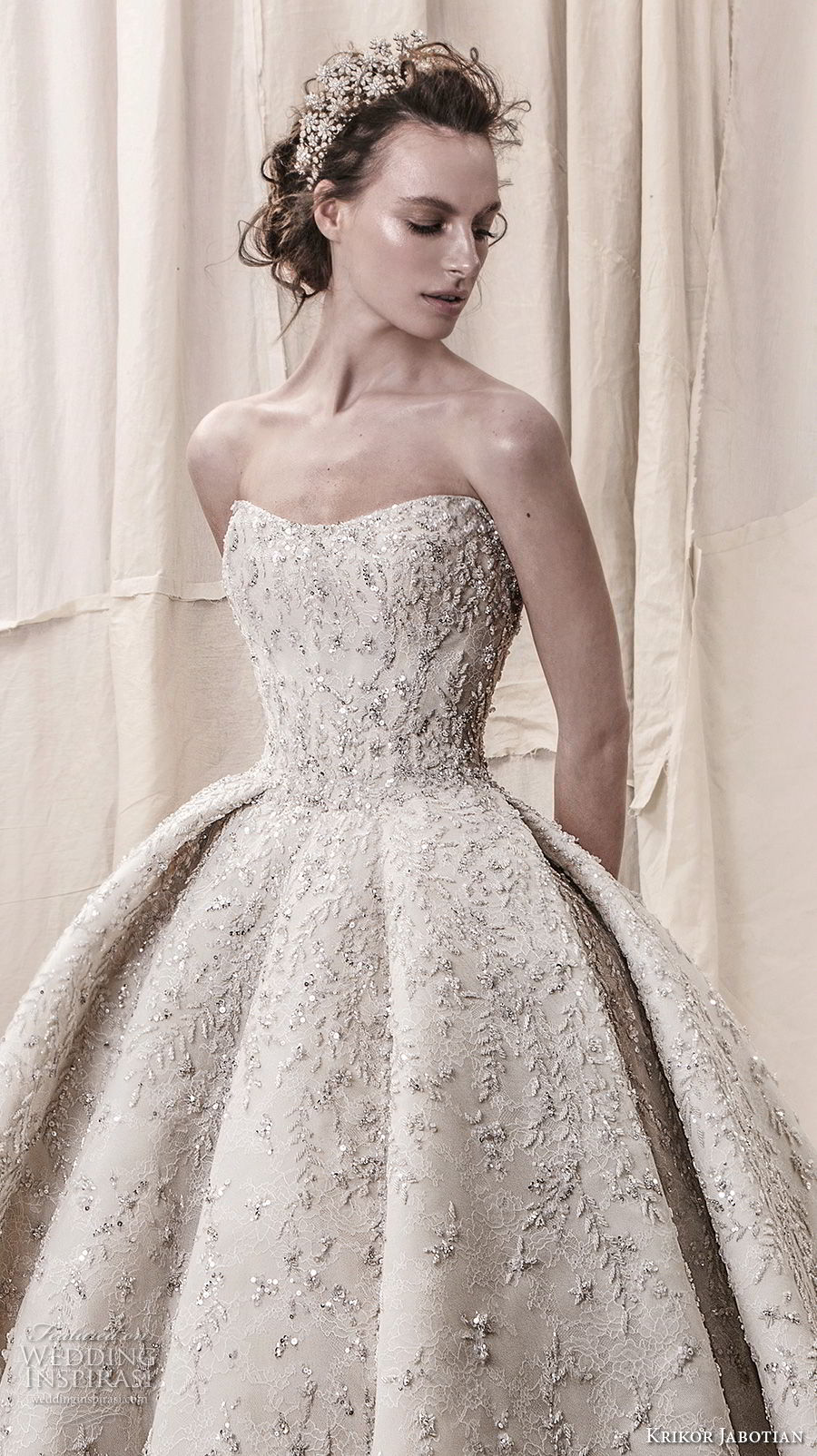 krikor jabotian spring 2018 bridal straplss semi sweetheart neckline full embellishment glamorous princess ball gown a line wedding dress open back royal train (05) zv