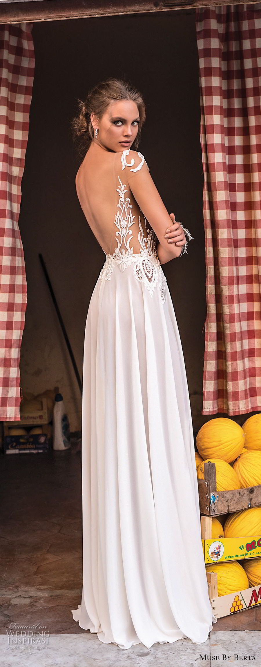 muse berta 2018 bridal cap sleeves v neckline heavily embellished bodice high slit skirt sexy romantic soft a  line wedding dress open v back sweep train (3) bv