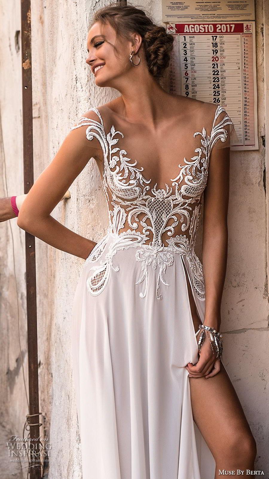 muse berta 2018 bridal cap sleeves v neckline heavily embellished bodice high slit skirt sexy romantic soft a  line wedding dress open v back sweep train (3) zv