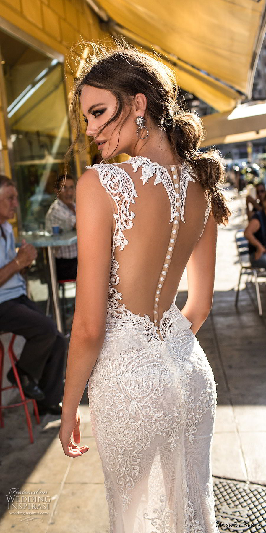 muse berta 2018 bridal sleeveless deep plunging v neck heavily embellished bodice elegant sexy peplum sheath wedding dress sheer keyhole back (6) zbv