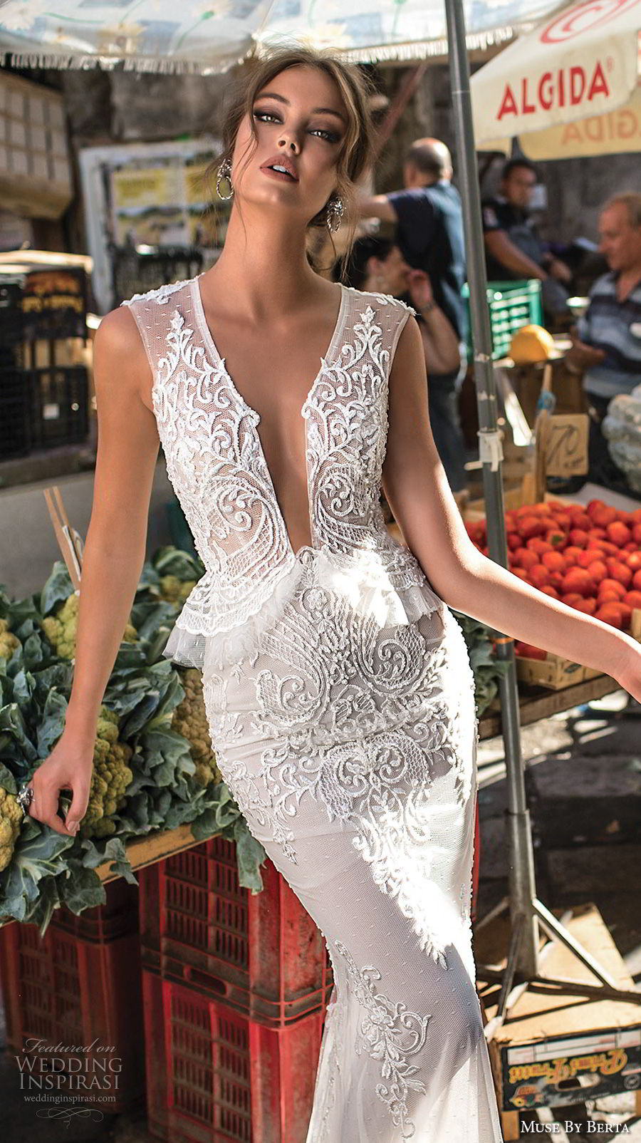 muse berta 2018 bridal sleeveless deep plunging v neck heavily embellished bodice elegant sexy peplum sheath wedding dress sheer keyhole back (6) zv