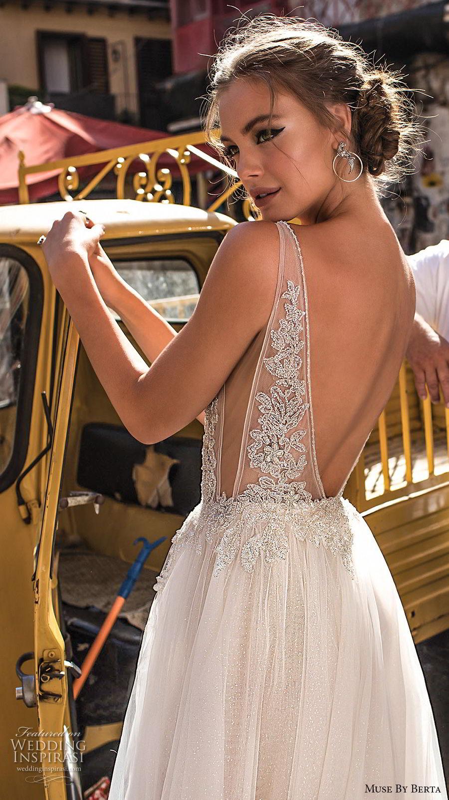 muse berta 2018 bridal sleeveless deep plunging v neck heavily embellished bodice high slit tulle skirt sexy romantic soft a  line wedding dress open v back sweep train (2) bv