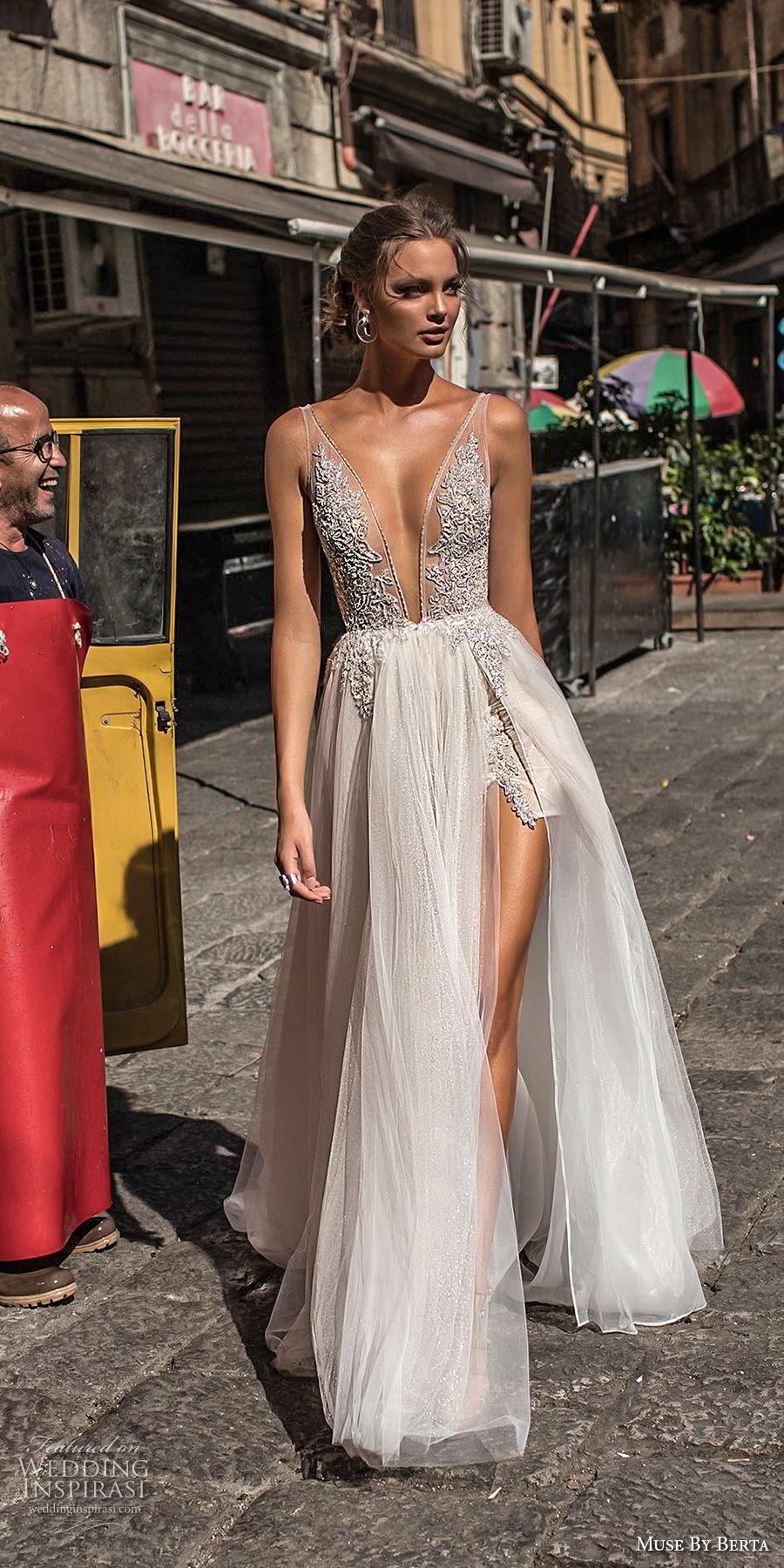 muse berta 2018 bridal sleeveless deep plunging v neck heavily embellished bodice high slit tulle skirt sexy romantic soft a  line wedding dress open v back sweep train (2) fv