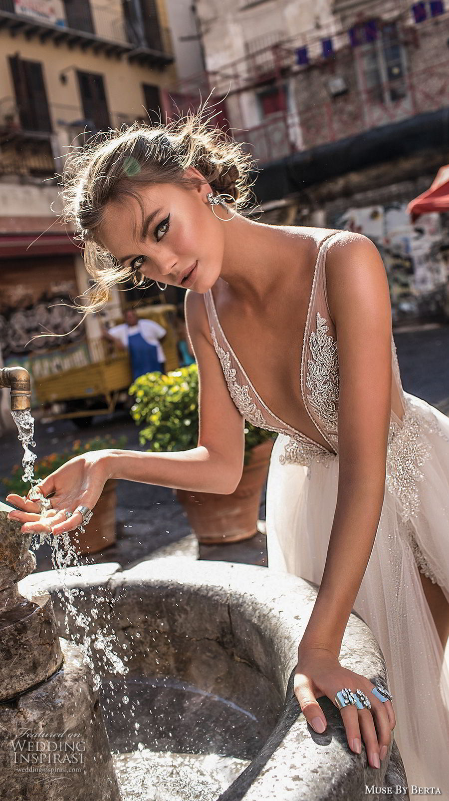 muse berta 2018 bridal sleeveless deep plunging v neck heavily embellished bodice high slit tulle skirt sexy romantic soft a  line wedding dress open v back sweep train (2) zv