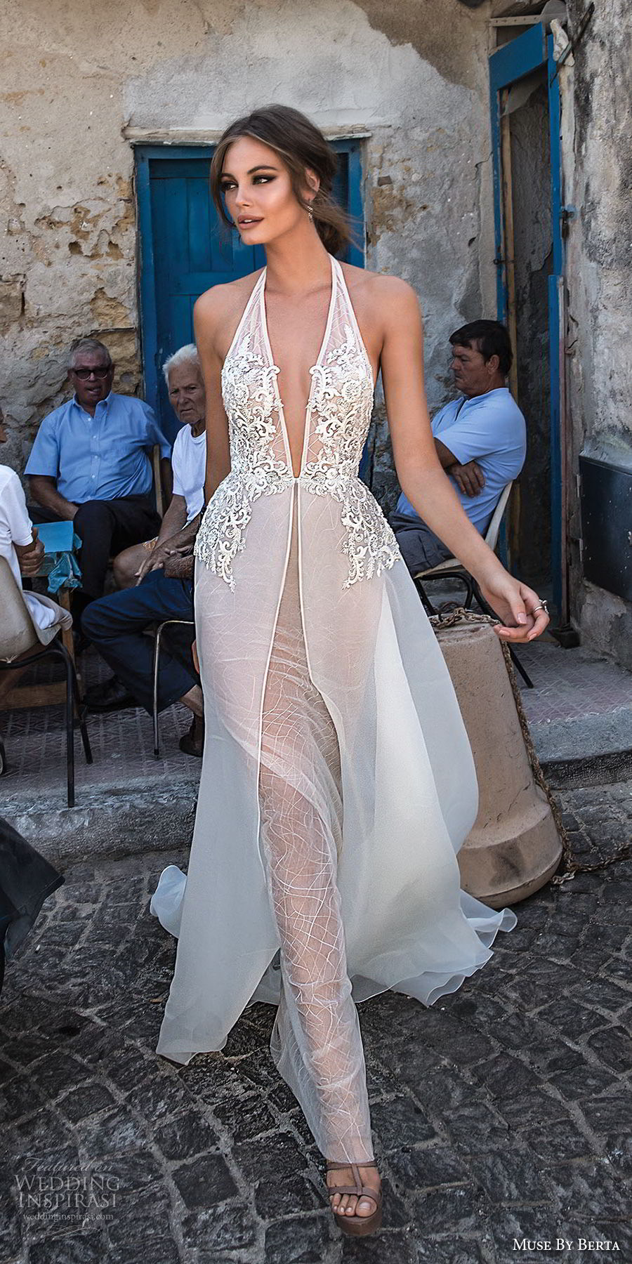 muse berta 2018 bridal sleeveless deep plunging v neck heavily embellished bodice sexy elegant sheath wedding dress a  line overskirt open back chapel train (10) mv