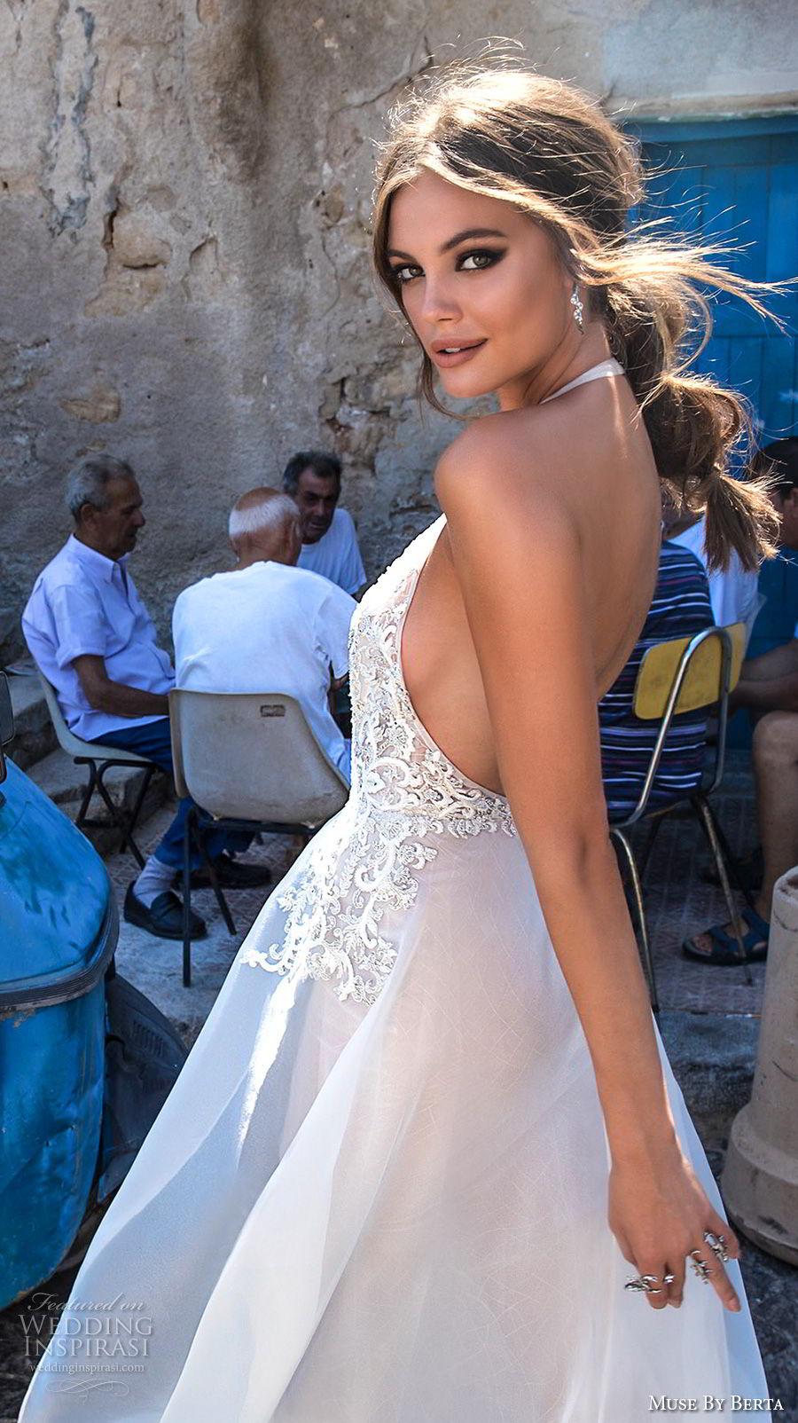 muse berta 2018 bridal sleeveless deep plunging v neck heavily embellished bodice sexy elegant sheath wedding dress a  line overskirt open back chapel train (10) zbv