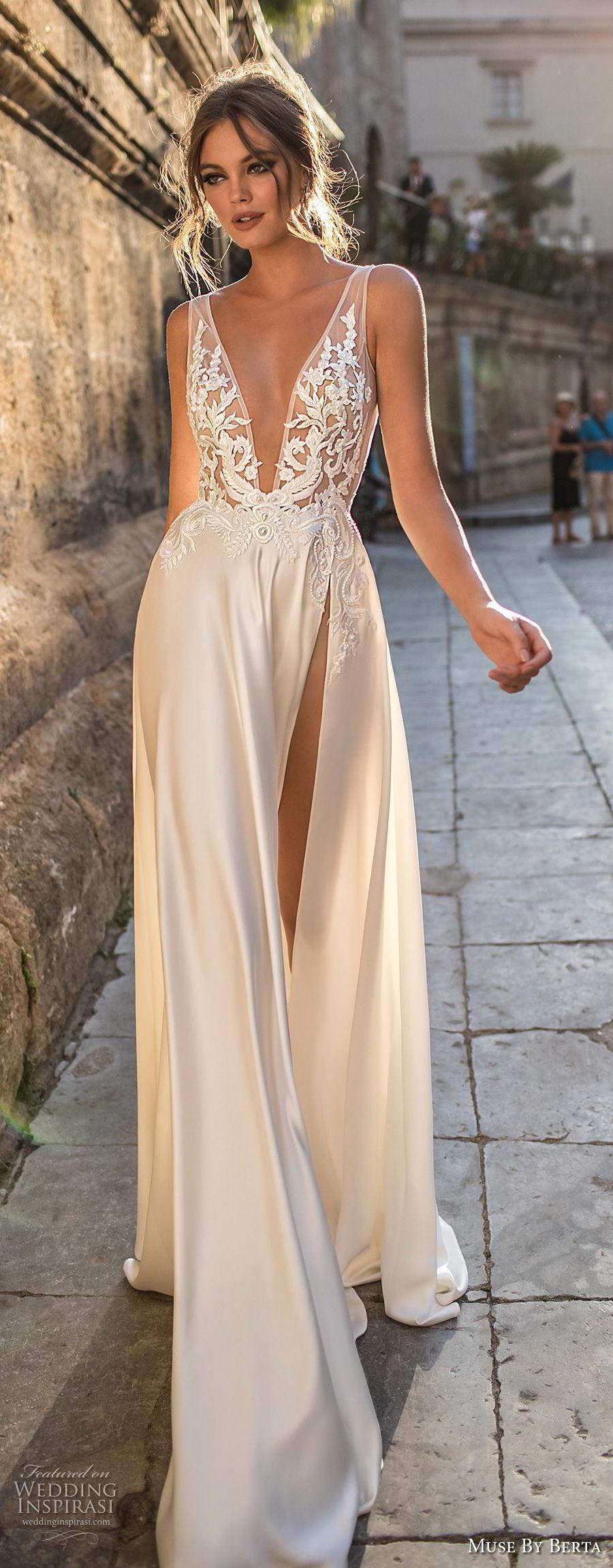 muse berta 2018 bridal sleeveless deep v neck heavily embellished bodice high slit skirt sexy elegant soft a  line wedding dress sweep train (15) lv