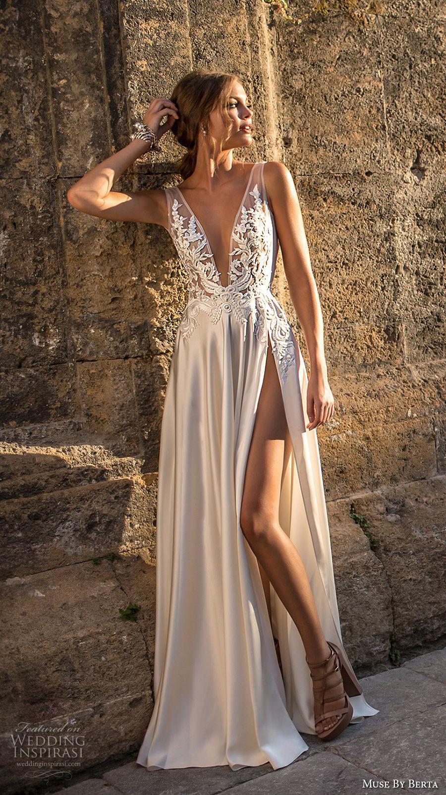 muse berta 2018 bridal sleeveless deep v neck heavily embellished bodice high slit skirt sexy elegant soft a  line wedding dress sweep train (15) mv