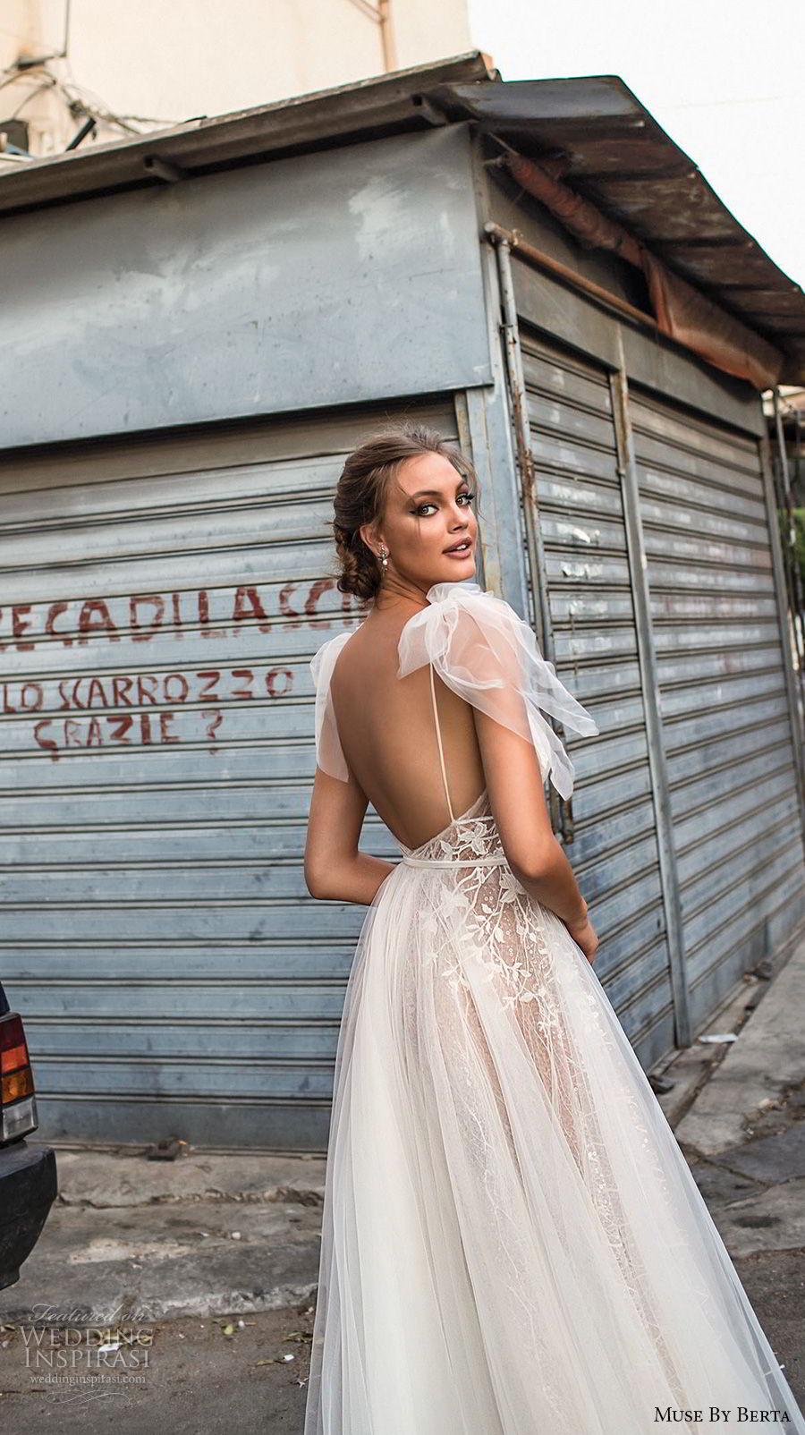muse berta 2018 bridal sleeveless deep v neck heavily embellished bodice tulle skirt romantic a  line wedding dress open back sweep train (16) bv