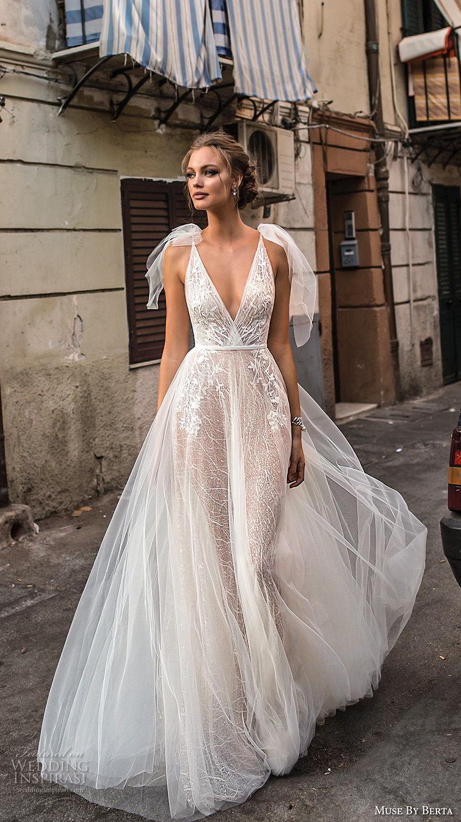 muse berta 2018 bridal sleeveless deep v neck heavily embellished bodice tulle skirt romantic a  line wedding dress open back sweep train (16) mv