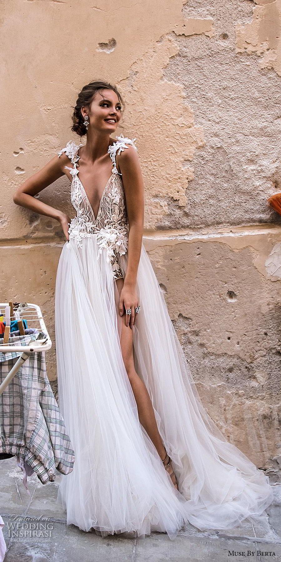 muse berta 2018 bridal sleeveless deep v neck heavily embellished high slit tulle skirt sexy romantic soft a  line wedding dress open back chapel train (7) mv