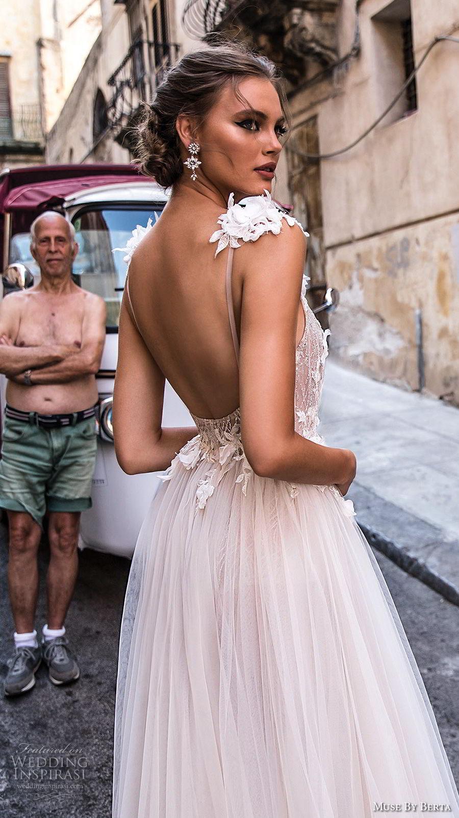 muse berta 2018 bridal sleeveless deep v neck heavily embellished high slit tulle skirt sexy romantic soft a  line wedding dress open back chapel train (7) zbv
