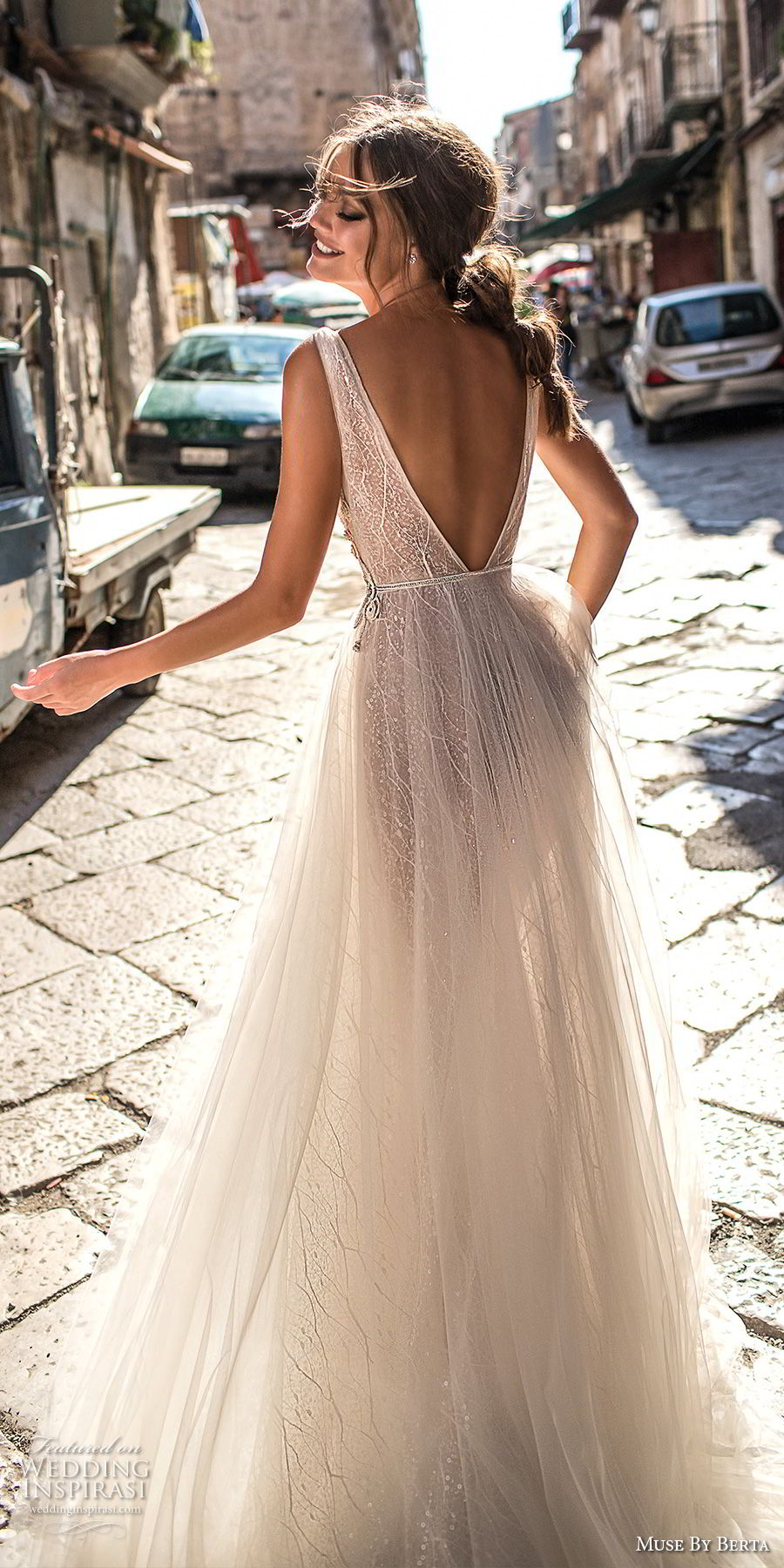 muse berta 2018 bridal sleeveless deep v neck lightly embellished bodice tulle skirt romantic soft a line wedding dress open v back medium train (4) bv