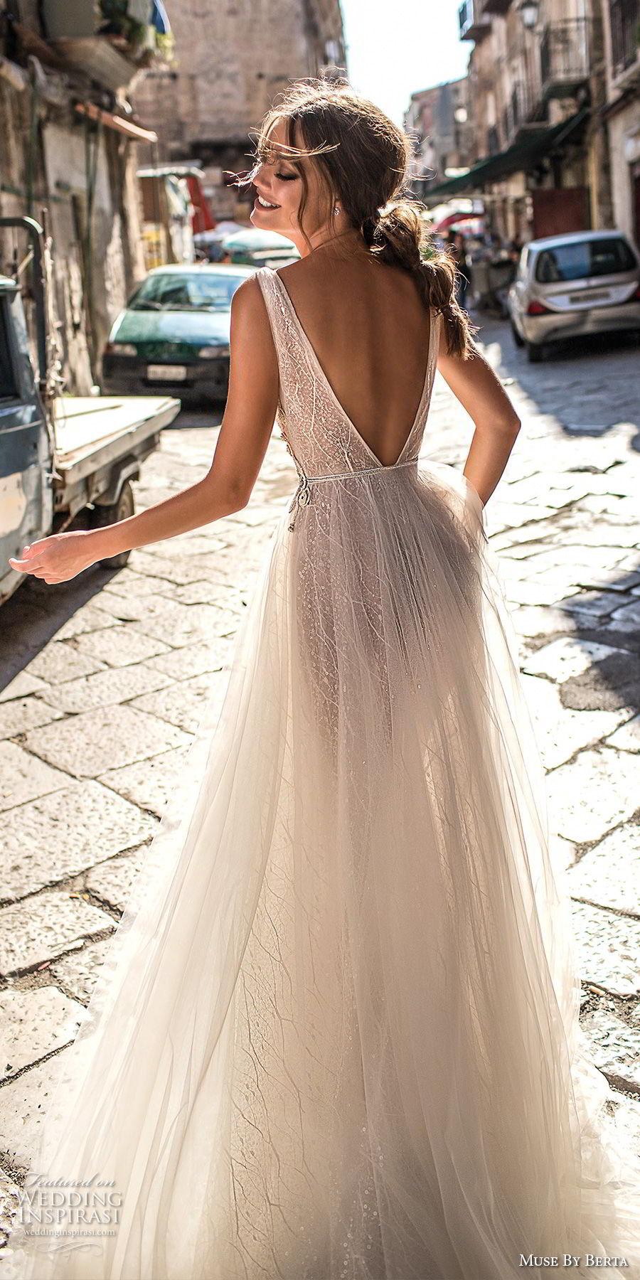muse berta 2018 bridal sleeveless deep v neck lightly embellished bodice tulle skirt romantic soft a  line wedding dress open v back medium train (4) bv