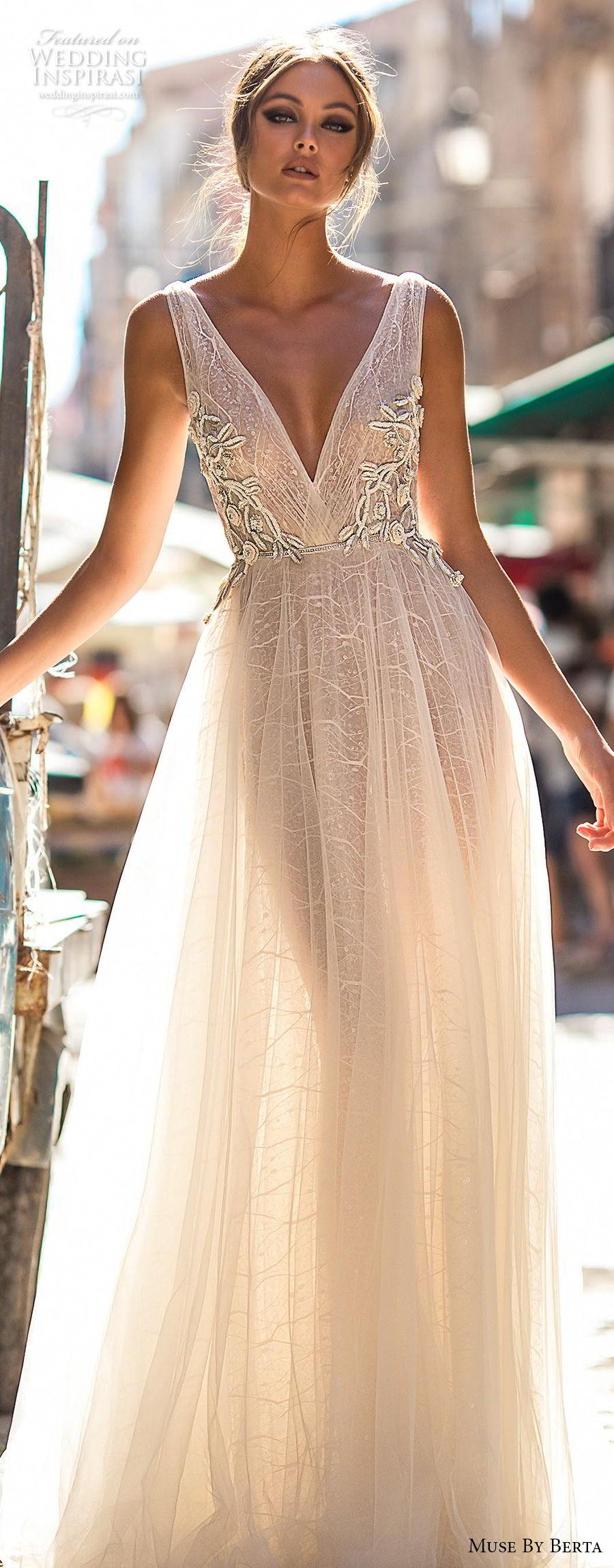 muse berta 2018 bridal sleeveless deep v neck lightly embellished bodice tulle skirt romantic soft a  line wedding dress open v back medium train (4) lv