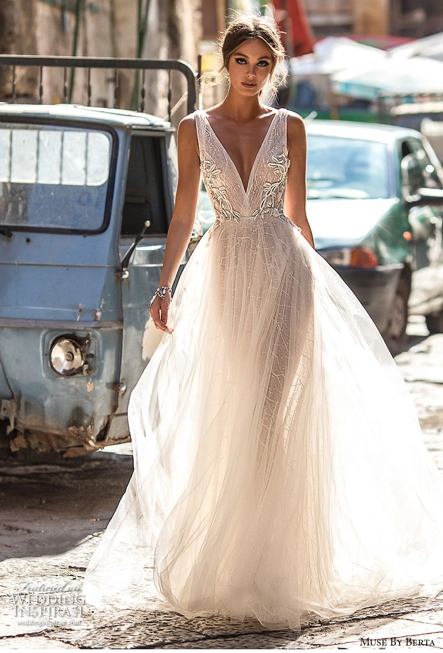 muse berta 2018 bridal sleeveless deep v neck lightly embellished bodice tulle skirt romantic soft a line wedding dress open v back medium train (4) mv