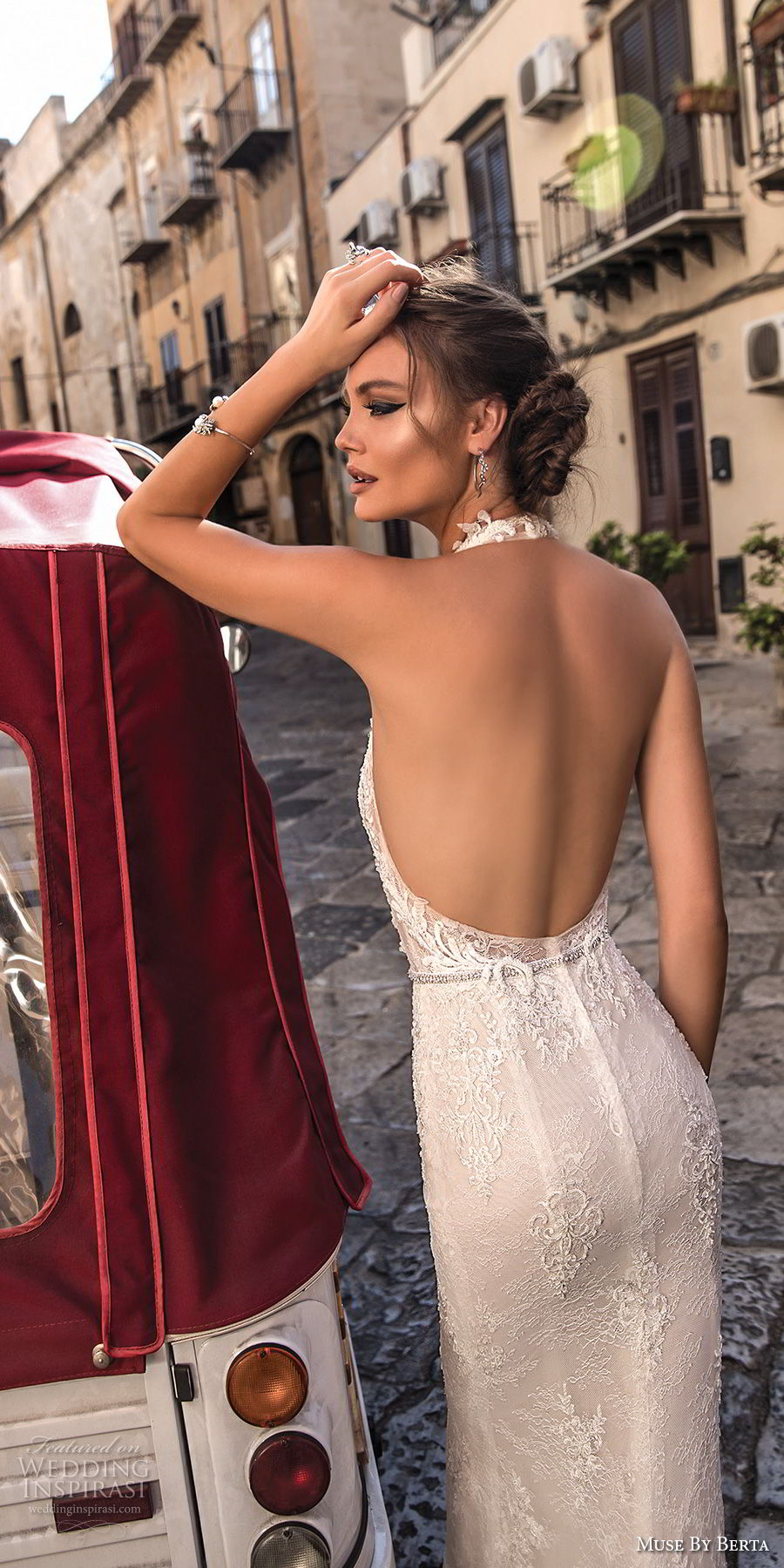 muse berta 2018 bridal sleeveless halter neck deep plunging v neck full embellishment elegant sexy sheath wedding dress open back sweep train (12) zbv