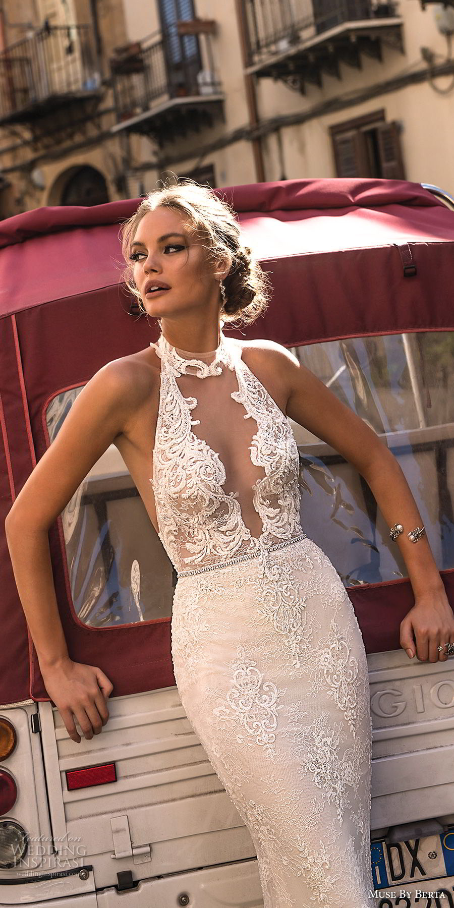 muse berta 2018 bridal sleeveless halter neck deep plunging v neck full embellishment elegant sexy sheath wedding dress open back sweep train (12) zv