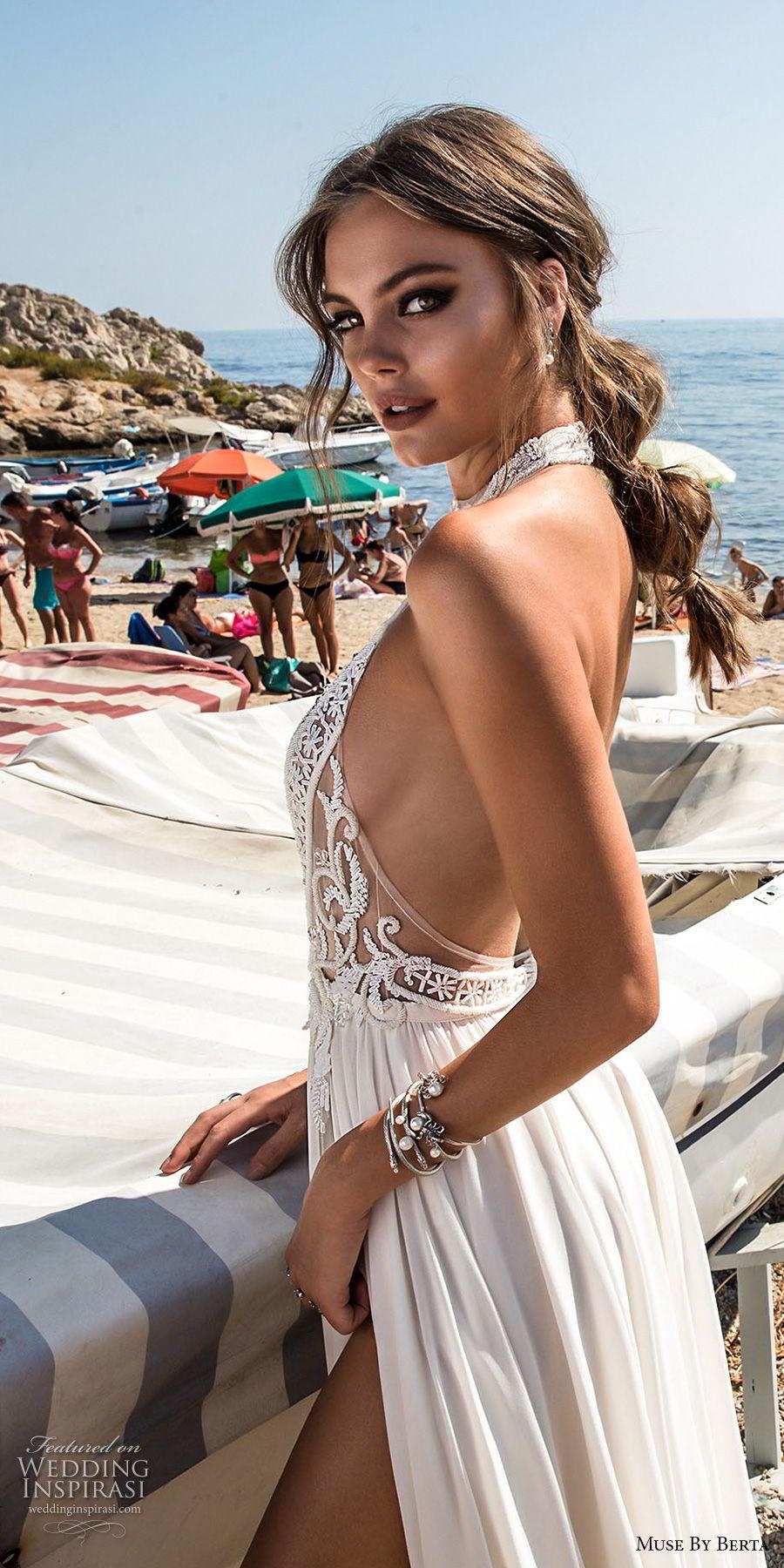 muse berta 2018 bridal sleeveless high neck halter neck heavily embellished bodice high slit skirt sexy glamorous soft a  line wedding dress open back sweep train (5) sdv