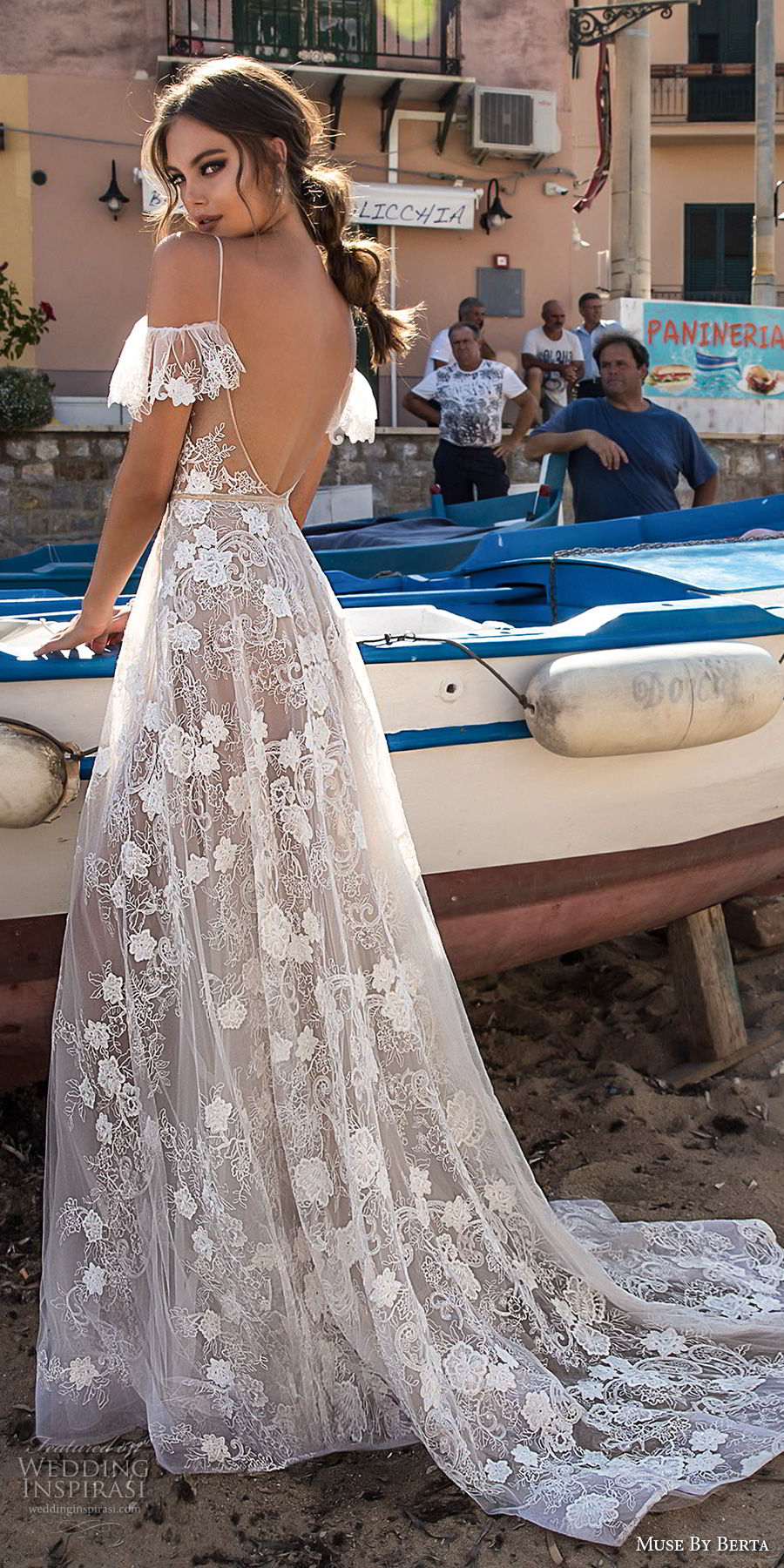 muse berta 2018 bridal spaghetti strap cold shoulder v neck full embellishment romantic soft a  line wedding dress open back sweep train (14) bv