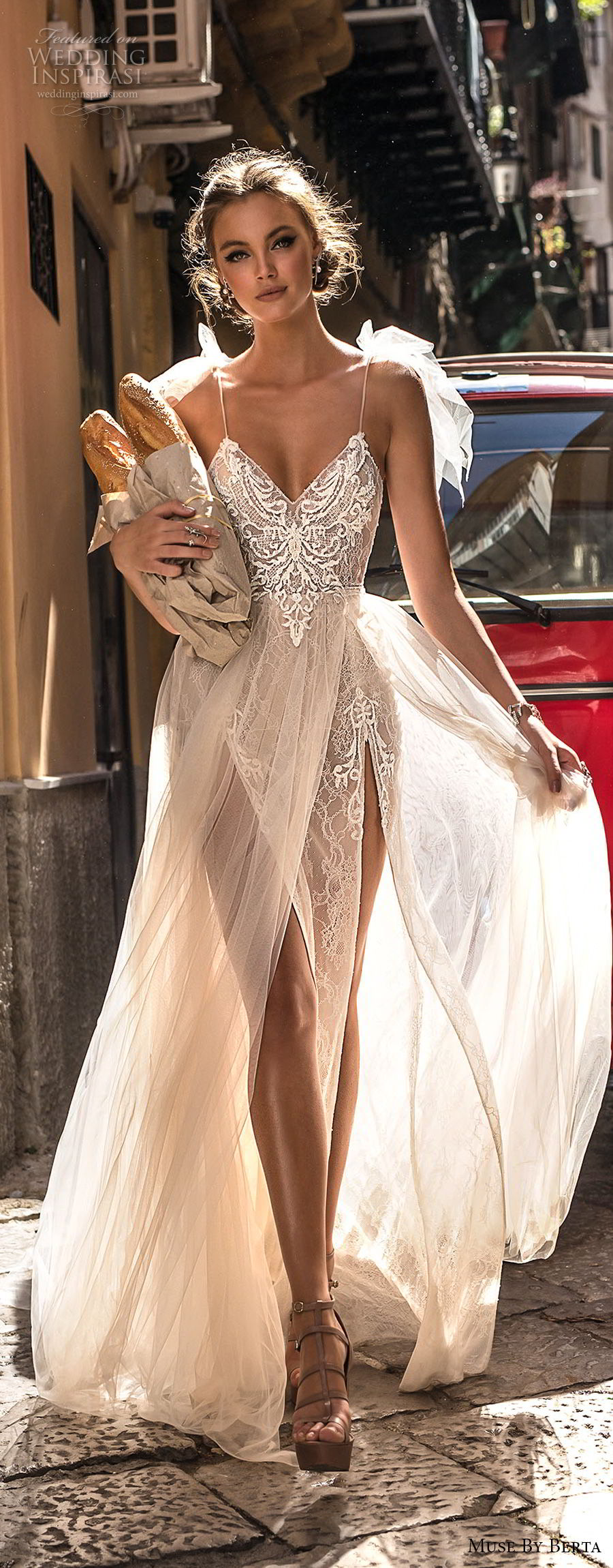 muse berta 2018 bridal spaghetti strap sweetheart neckline heavily embellished bodice high slit tulle skirt sexy soft a  line wedding dress sweep train (1) lv