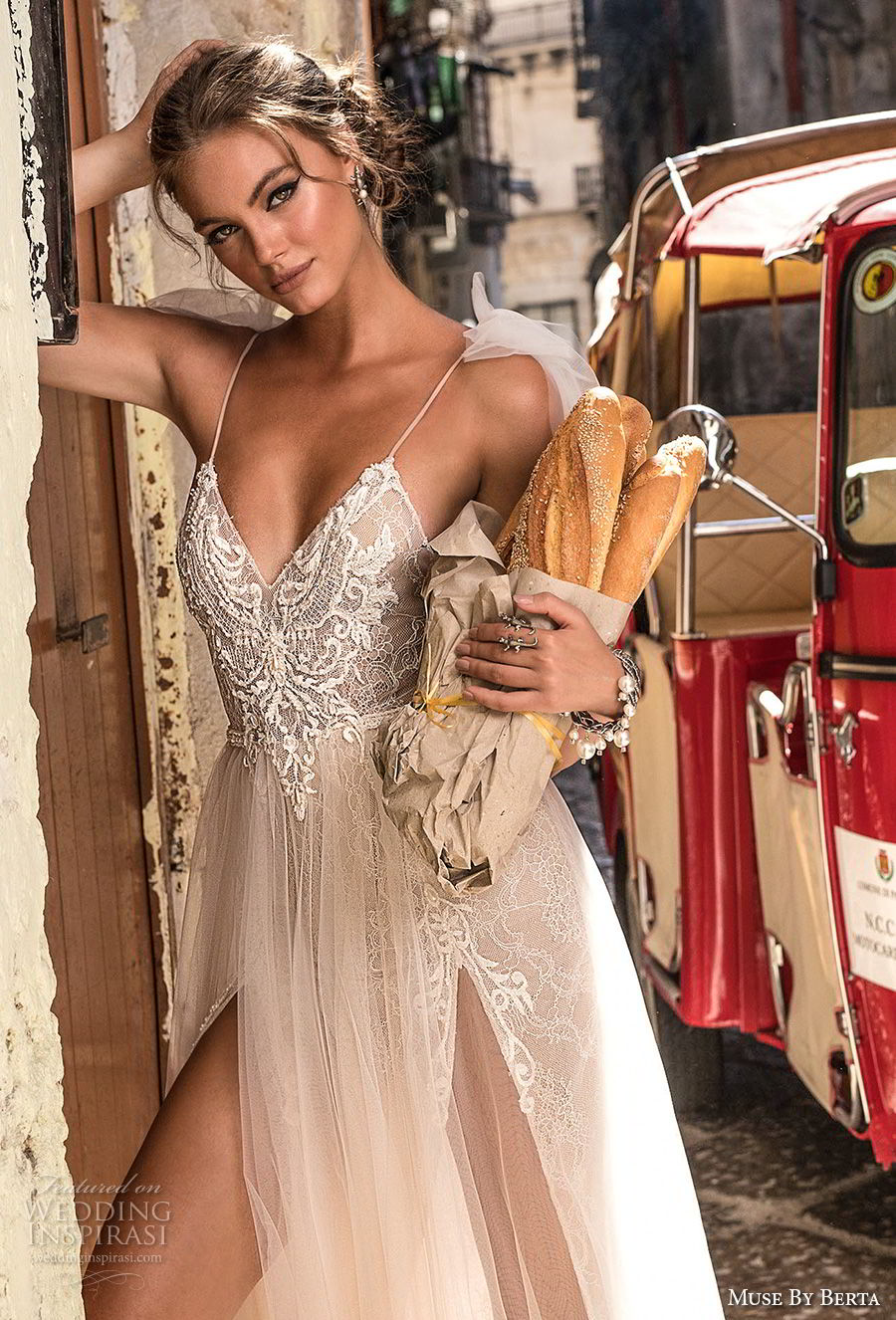 muse berta 2018 bridal spaghetti strap sweetheart neckline heavily embellished bodice high slit tulle skirt sexy soft a  line wedding dress sweep train (1) zv