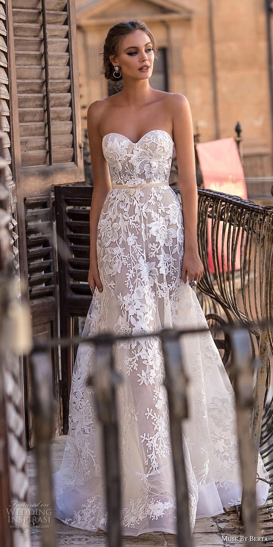 muse berta 2018 bridal strapless sweetheart neckline full embellishment romantic a  line wedding dress medium train (11) mv