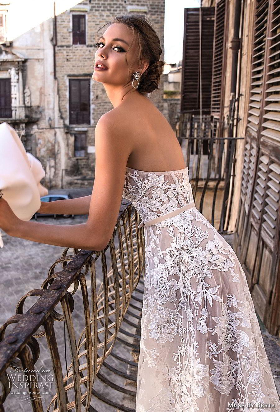 muse berta 2018 bridal strapless sweetheart neckline full embellishment romantic a  line wedding dress medium train (11) sdv