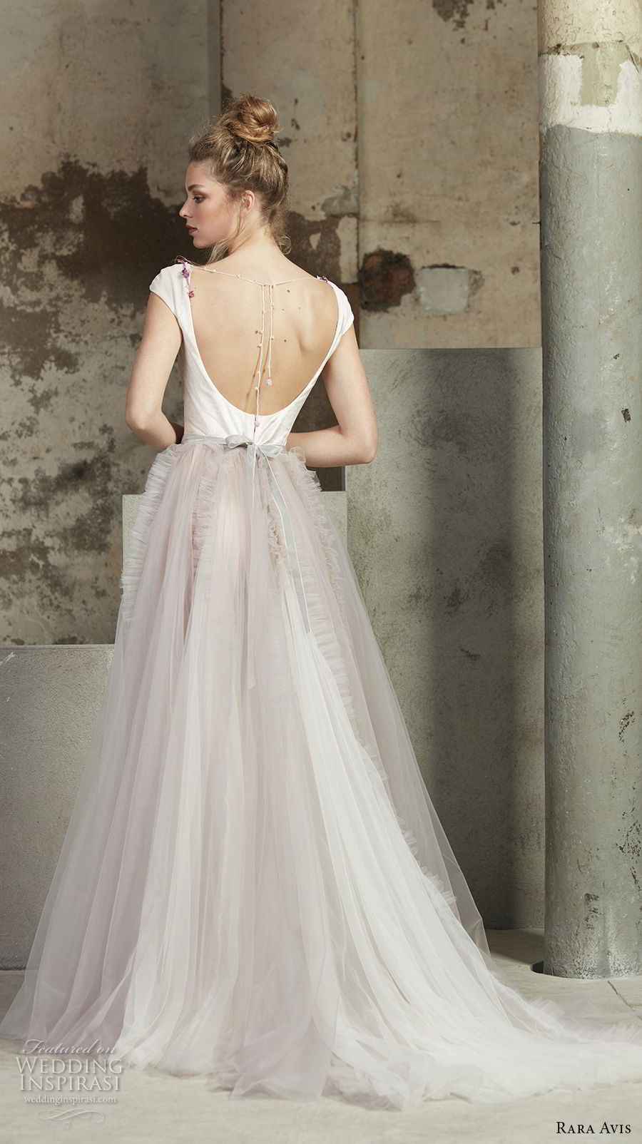 rara avis 2017 bridal cap sleeves scoop neckline unembellished bodice blush tulle skirt romantic a line wedding dress open scoop back medium train (24) bv