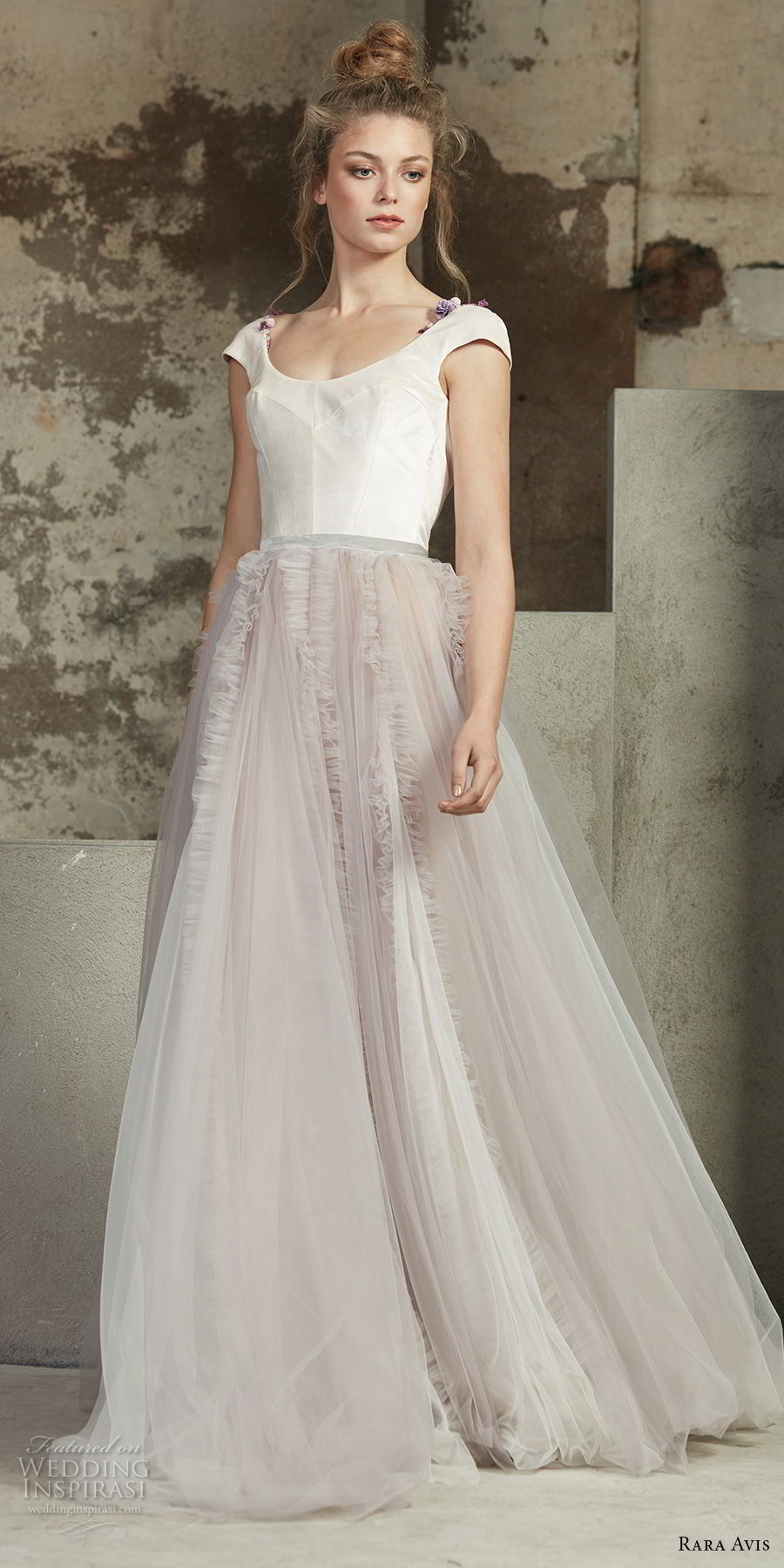 rara avis 2017 bridal cap sleeves scoop neckline unembellished bodice blush tulle skirt romantic a line wedding dress open scoop back medium train (24) mv