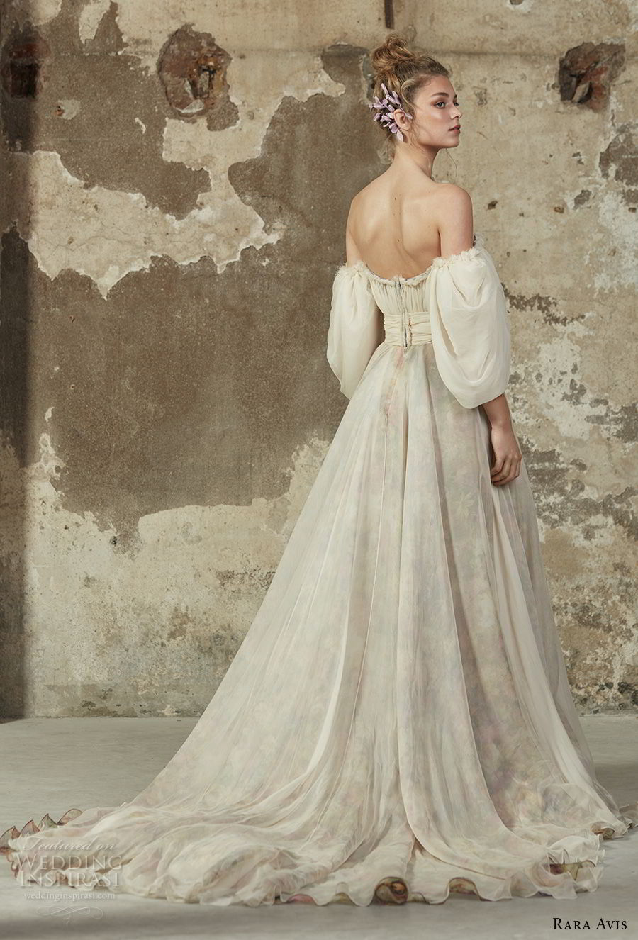 rara avis 2017 bridal puff sleeves off the shoulder straight across neckline lightly embellished bodice romantic a line wedding dress chapel train (11) bv