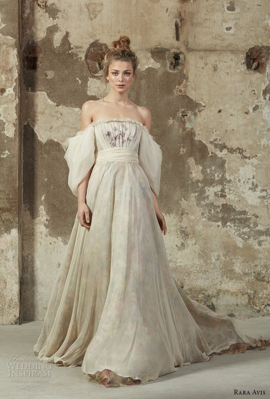 rara avis 2017 bridal puff sleeves off the shoulder straight across neckline lightly embellished bodice romantic a line wedding dress chapel train (11) mv