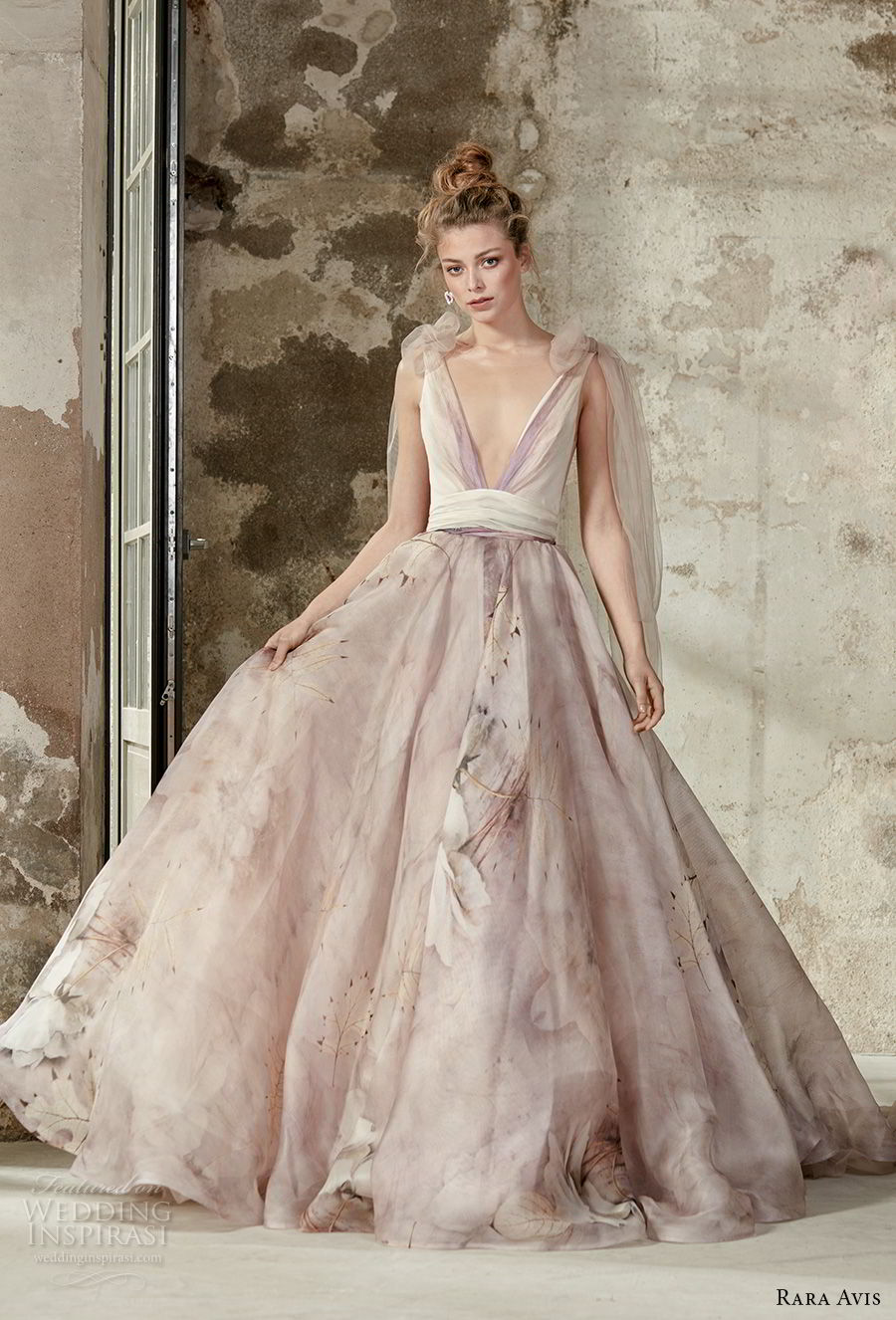 rara avis 2017 bridal sleeveless deep v neck unembellished floral printed romantic pastel purple a line wedding dress open back medium train (7) mv