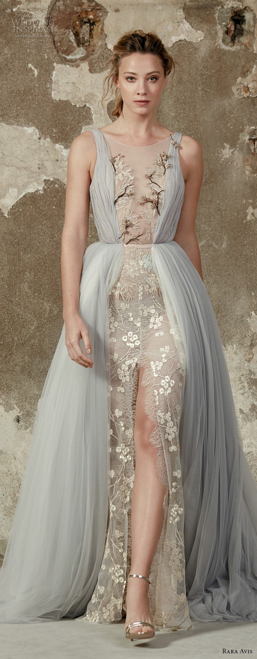 rara avis 2017 bridal sleeveless illusion bateau neck full embellishment middle slit skirt romantic pastel blue a line wedding dress open square back medium train (10) mv