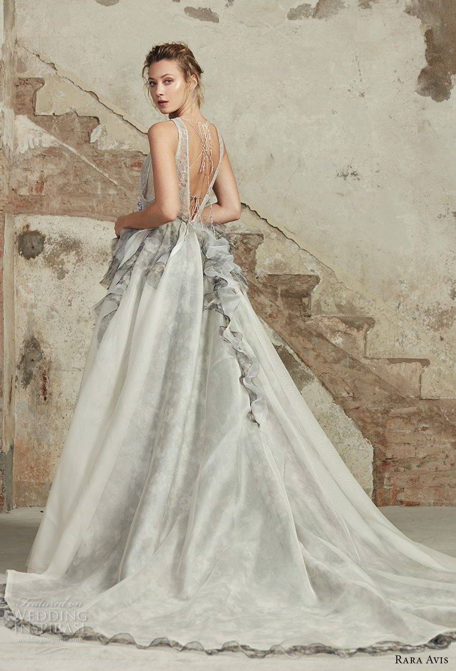 rara avis 2017 bridal sleeveless jewel neck heavily embellished bodice peplum pastel grey romantic a line wedding dress open v back chapel train (4) bv
