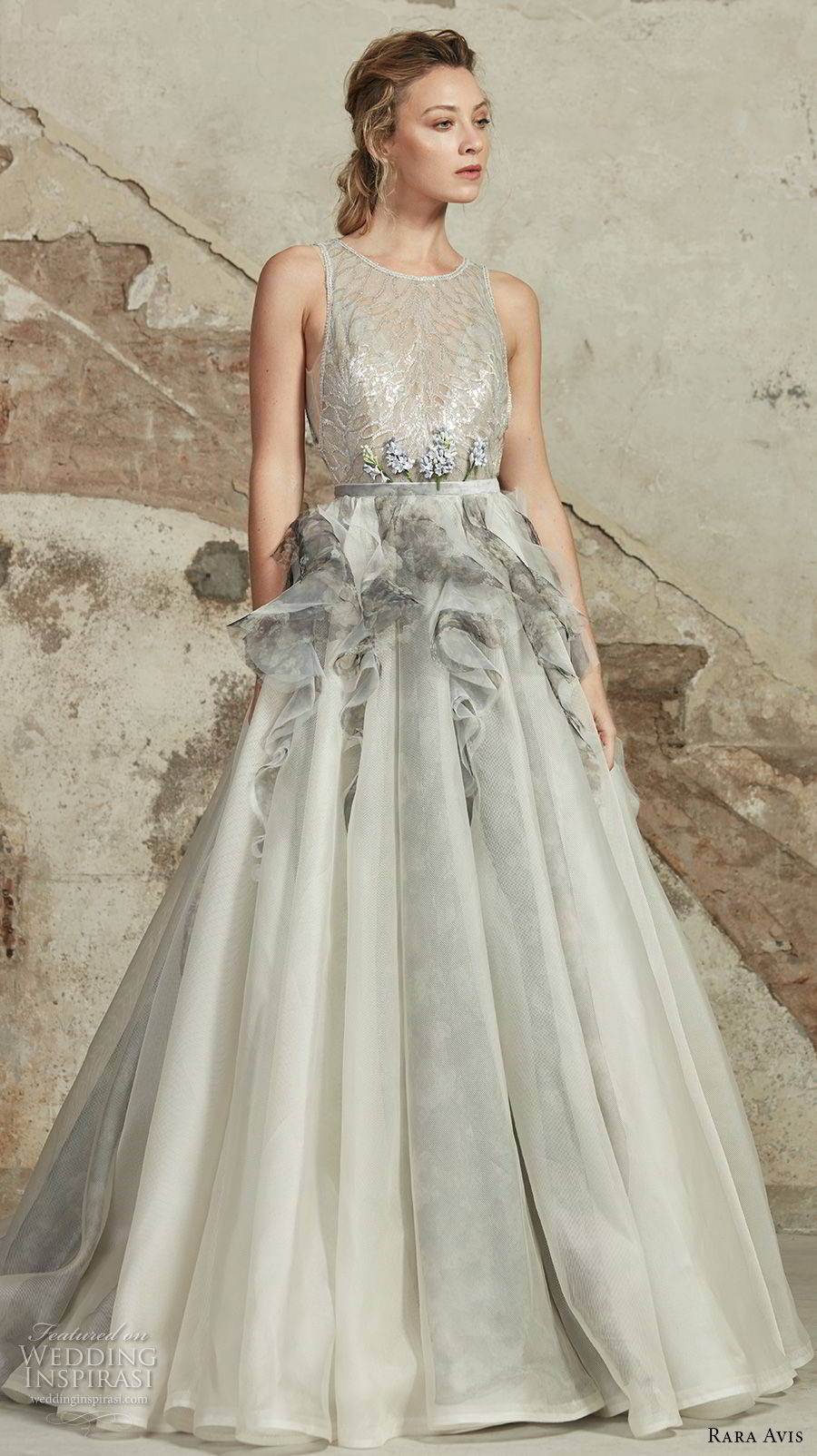 rara avis 2017 bridal sleeveless jewel neck heavily embellished bodice peplum pastel grey romantic a line wedding dress open v back chapel train (4) mv