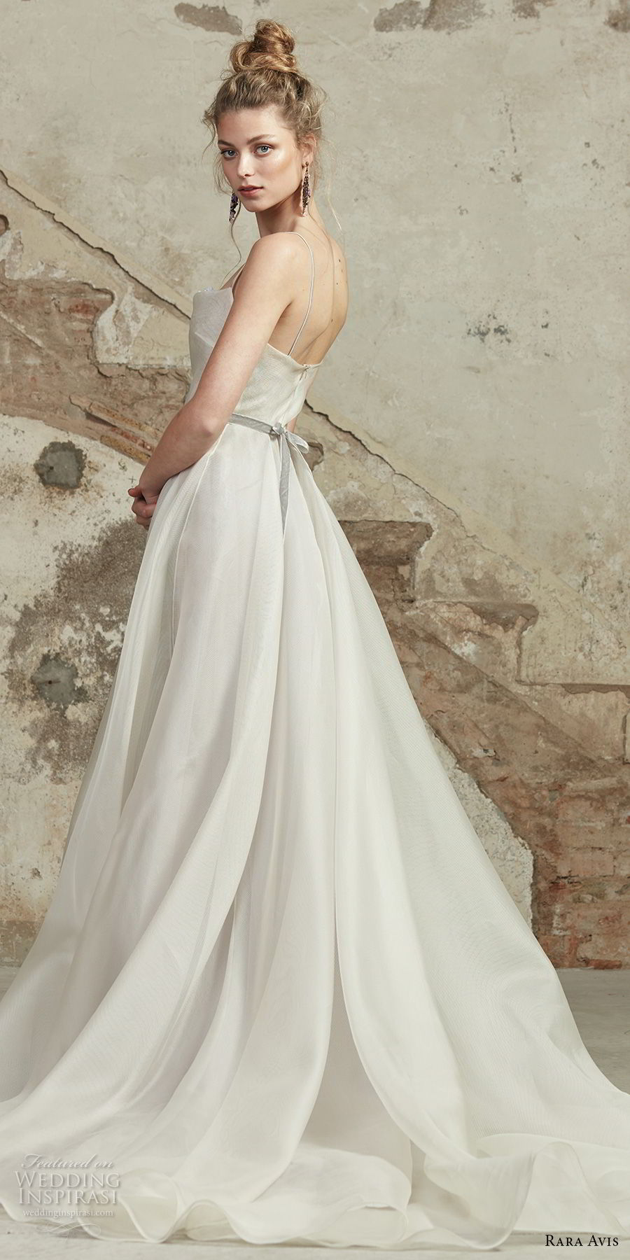 rara avis 2017 bridal spaghetti strap straight across necklne simple romantic a line wedding dress chapel train (8) bv